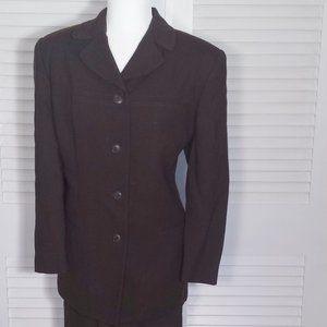 Jones New York Chocolate Worsted Wool Suit